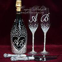 Набор свадебных аксессуаров в стразах (бокалы, шампанское, нож с лопаткой для торта)