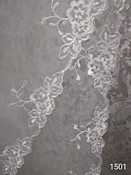 Фата с вышивкой № 1501 (1,5*2 м) удлиненная айвори