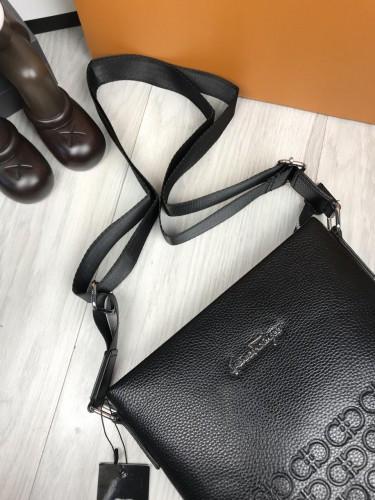 6b815da514c3 ... фото Мужская сумка-планшетка Salvatore Ferragamo черная экокожа через  плечо унисекс Сальваторе Феррагамо реплика, ...