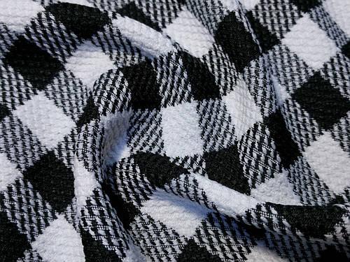 Ткань жаккард виктория клеточка, черный