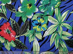 Коттон сатин рисунок тропический, синий