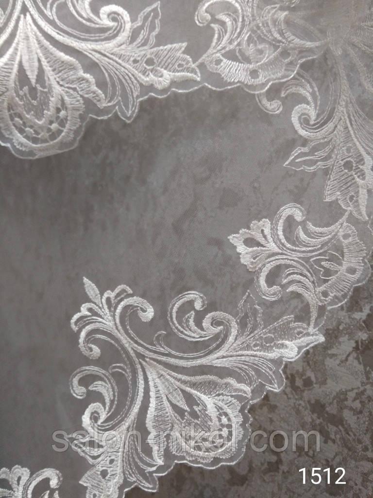 Фата с вышивкой № 1512 (1,5*1,5 м) стандартная айвори