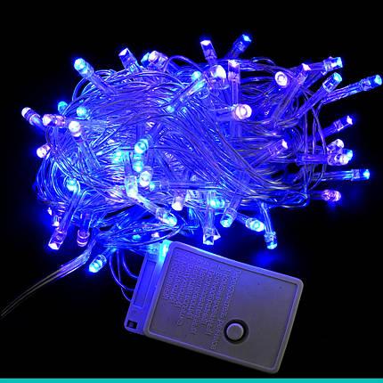 Электрогирлянда светодиодная, 100 ламп, голубая, 5 м., 8 реж.мигания, прозр.провод., фото 2