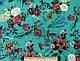Ткань штапель рисунок цветущий сад, бирюзовый, фото 2