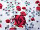 Коттон стрейчевый рисунок цветочный дуэт, белый, фото 2