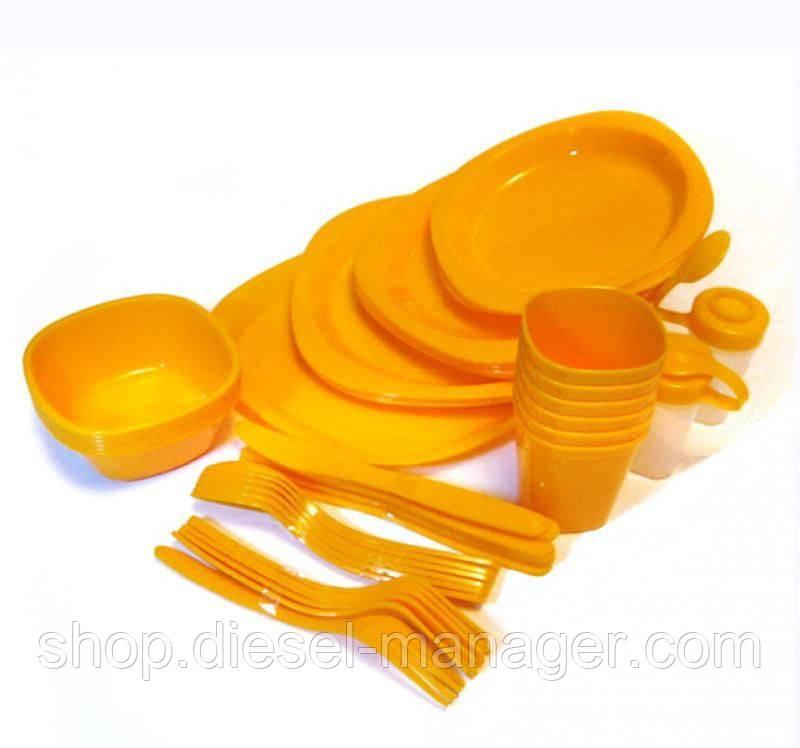 Набор пластиковой посуды для пикника Kronos Top 48 предметов Оранжевый (tps_89-8719650-1)