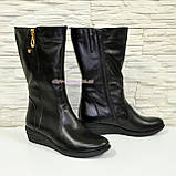 Женские зимние ботинки на невысокой платформе, натуральная черная кожа. Широкая голень! 38 размер, фото 2
