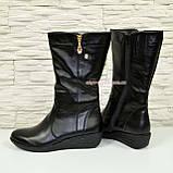 Женские зимние ботинки на невысокой платформе, натуральная черная кожа. Широкая голень! 38 размер, фото 3