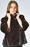 Шубка из канадской норки поперечка стойка воротник цвет махагон 3/4 рукав длина 55см.44р-46р