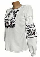Борщівська жіноча вишиванка на довгий рукав у білому кольорі
