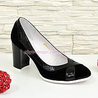 """Туфли женские классические на каблуке, натуральный замш и кожа """"питон"""". 37 размер"""
