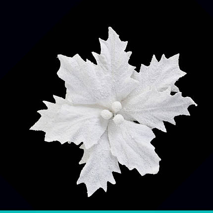 Пуансеттия 24 см с клипом, белая, фото 2