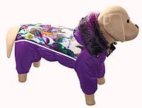 """""""BALET"""" зимний комбинезон, фиолетовый с рисунком, размер ХS, 23-25/32-40см для собак мелких пород"""