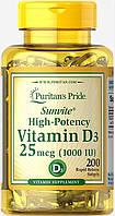 Puritan's Pride Vitamin D3 1000 IU 200 softgels, Витамин Д3 1000 200 софтгельс