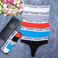 Набор женских стрингов Calvin Klein.Женские трусики стринги на широкой резинке. Реплика.