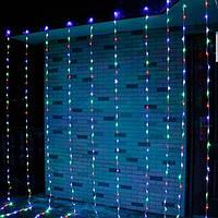 Светодиодная гирлянда штора 320 светодиодов с эффектом дождя/водопада