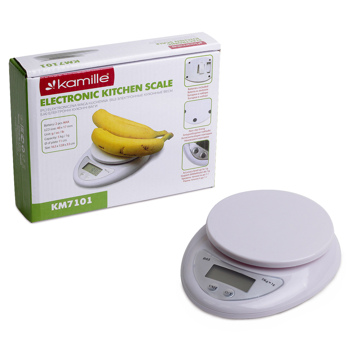 Весы электронные кухонные Kamille 18*15*4см KM-7101