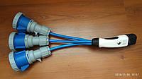 Переходник для бесплатной зарядки на АЗС ОККО одновременно трёх однофазных электромобилей до 32А