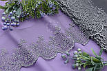 Кружево с веточками серого цвета, шириной 8 см., фото 2