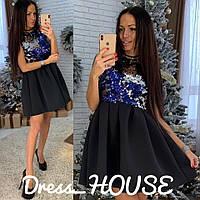 Платье мини нарядное верх пайетка и пышная юбка неопрен Smsa2897