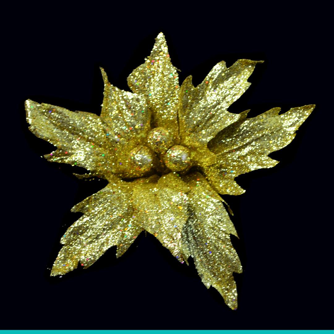 Пуансеттия 24 см с клипом, золотая