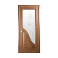 Межкомнатные двери Новый стиль Амата со стеклом и рис. Р2 золотая ольха