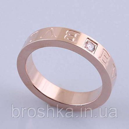 Кольцо бижутерия Bvlgari в розовой позолоте 16й размер, фото 2