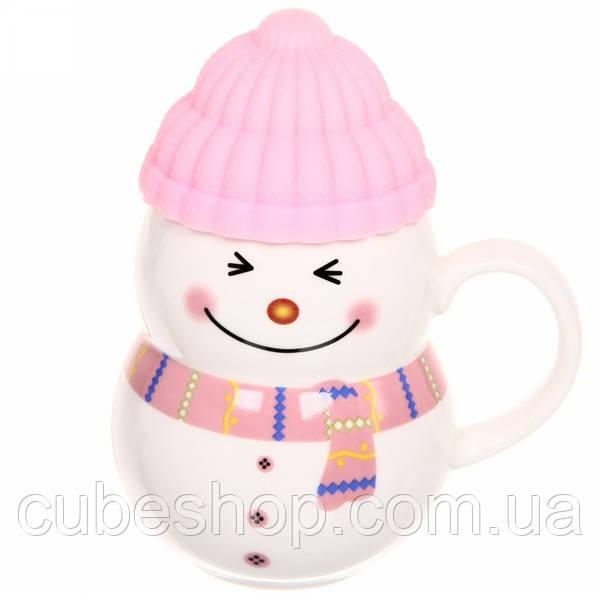 """Чашка с силиконовой крышкой """"Снеговик"""" (розовый) 400 мл"""