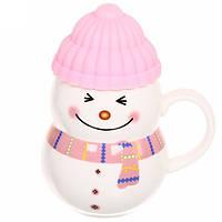 """Чашка с силиконовой крышкой """"Снеговик"""" (розовый) 400 мл, фото 1"""