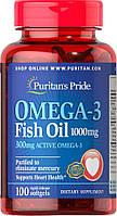 Рыбий Жир Puritan's Pride Omega-3 Fish Oil 1000 mg 100 softgels, Омега 3 1000 мг 100 софтгелс