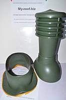 Вентиляционные и кровельные выходы KRONO-PLAST KBN Ral 6020 Ø 125  для металлочерепицы (низкий профиль)