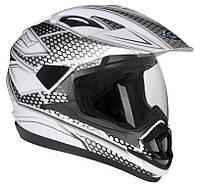 Шлем GEON 714 Дуал-спорт Trek бело-серый, фото 1