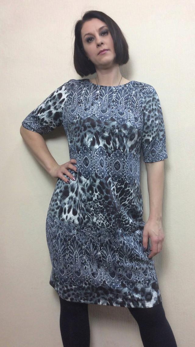 Платье-футляр с животным принтом П210