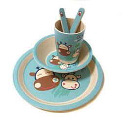 Набор детской посуды бамбуковой Eco Bamboo fibre kids set 5 предметов N02329 Blue