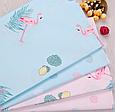 Сатин (хлопковая ткань) на розовом фламинго с пальмовыми листьями (55*160), фото 2