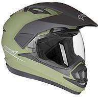 Шлем GEON 714 Дуал-спорт Trek хаки (зеленый) мат, фото 1