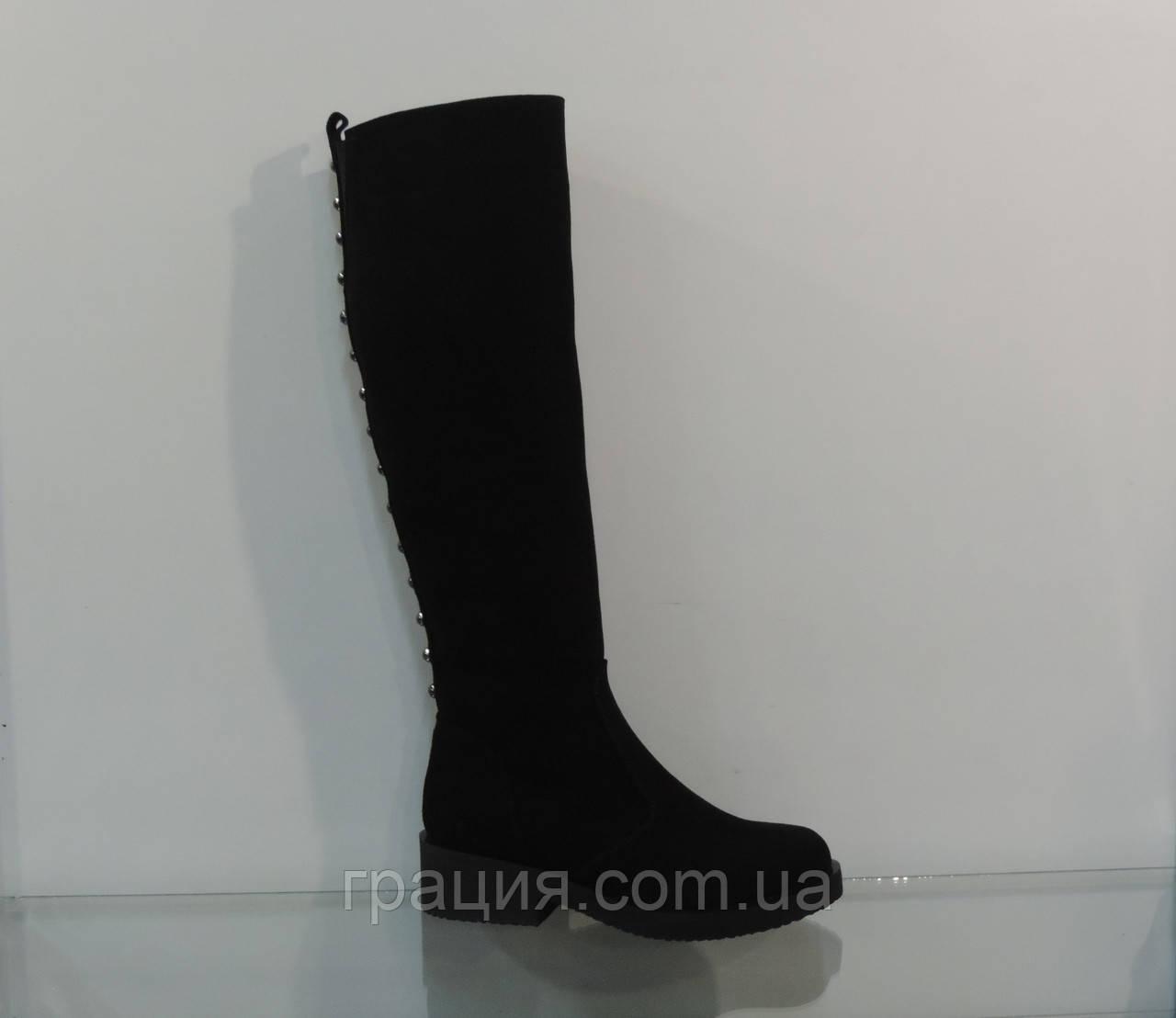 Стильні жіночі замшеві зимові чобітки