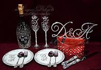 Набор свадебных аксессуаров в стразах (бокалы, шампанское, десертные приборы, тарелочки, топпер)  , фото 1