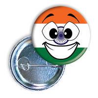 """Закатной круглый значок - смайл-флаг """"Индия"""""""
