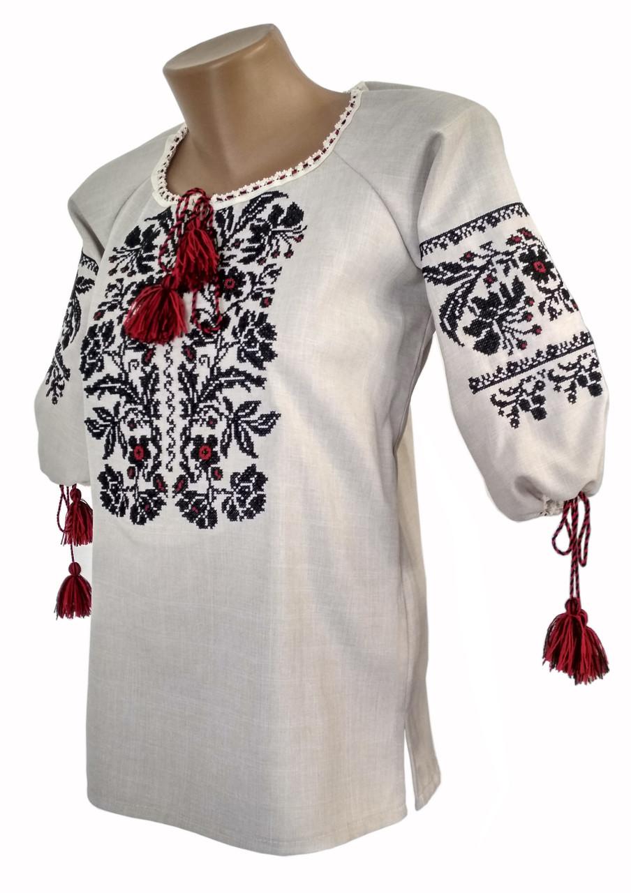 Женская вышиванка на льне с рукавом 3/4 «Модерн»