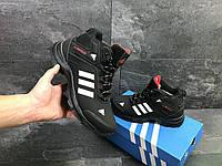 Мужские зимние кроссовки Adidas 6952 черные с белым, фото 1