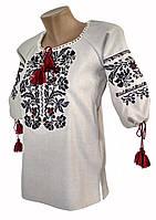 Стильна жіноча вишиванка із льону з широкою горловиною «Модерн»