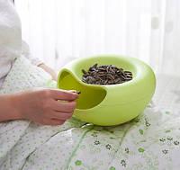 Пластиковая миска для семечек, орехов и снеков (зеленый)