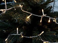 Электрогирлянда светодиодная, 100 ламп, молочно-белая, 5 м., 8 реж.мигания, прозр.провод., фото 3
