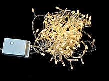 Электрогирлянда светодиодная, 100 ламп, молочно-белая, 5 м., 8 реж.мигания, прозр.провод., фото 2