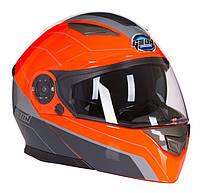 Шлем модуляр с очками GEON 950 TOUR серо-оранжевый, фото 1