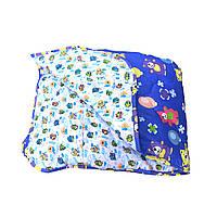 Детское двухстороннее одеяло полуторное холлофайбер, ткань поплин-байка