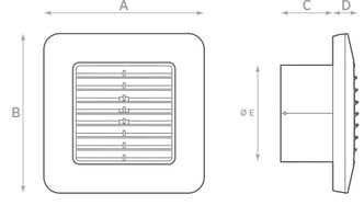 Габаритные размеры осевого вентилятора O.ERRE UNICO