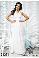Платье вечернее белоснежное в пол шифоновое
