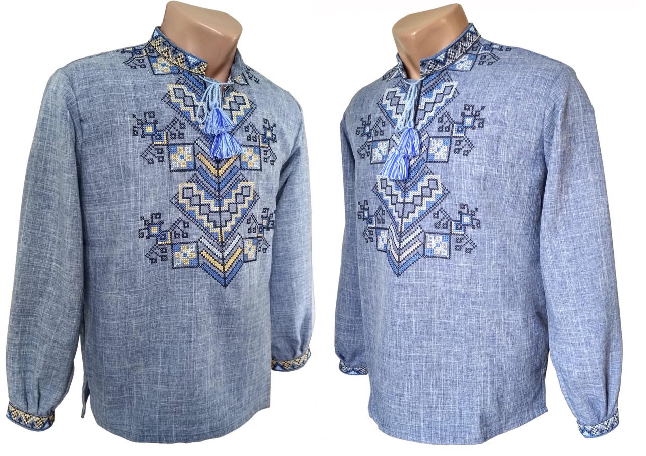 Модная мужская вышитая рубашка с габардина с длинным рукавом